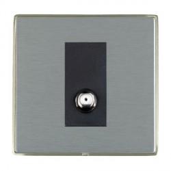 Hamilton Linea-Duo CFX Satin Nickel/Satin Steel 1 Gang Non Isolated Digital Satellite with Black Insert