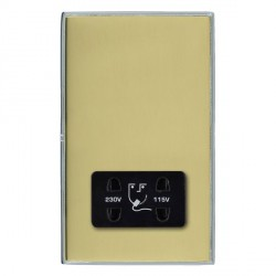 Hamilton Linea-Duo CFX Bright Chrome/Polished Brass Shaver Socket Dual Voltage with Black Insert