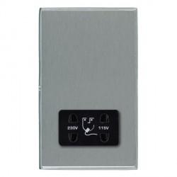 Hamilton Linea-Duo CFX Bright Chrome/Satin Steel Shaver Socket Dual Voltage with Black Insert