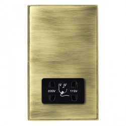 Hamilton Linea-Duo CFX Polished Brass/Antique Brass Shaver Socket Dual Voltage with Black Insert