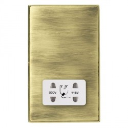 Hamilton Linea-Duo CFX Polished Brass/Antique Brass Shaver Socket Dual Voltage with White Insert