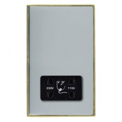 Hamilton Linea-Duo CFX Polished Brass/Bright Steel Shaver Socket Dual Voltage with Black Insert