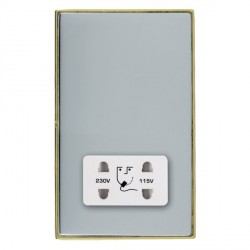 Hamilton Linea-Duo CFX Polished Brass/Bright Steel Shaver Socket Dual Voltage with White Insert