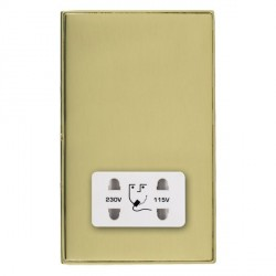 Hamilton Linea-Duo CFX Polished Brass/Polished Brass Shaver Socket Dual Voltage with White Insert