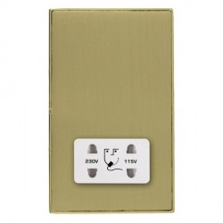Hamilton Linea-Duo CFX Polished Brass/Satin Brass Shaver Socket Dual Voltage with White Insert