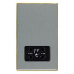 Hamilton Linea-Duo CFX Satin Brass/Satin Steel Shaver Socket Dual Voltage with Black Insert