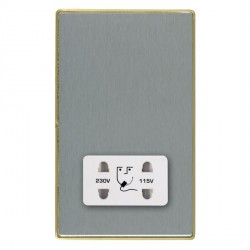 Hamilton Linea-Duo CFX Satin Brass/Satin Steel Shaver Socket Dual Voltage with White Insert
