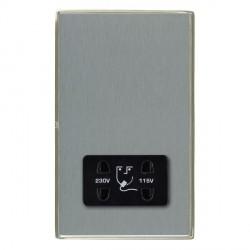 Hamilton Linea-Duo CFX Satin Nickel/Satin Steel Shaver Socket Dual Voltage with Black Insert