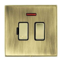 Hamilton Linea-Duo CFX Polished Brass/Antique Brass 1 Gang 13A Fused Spur, Double Pole + Neon with Black Insert