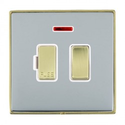 Hamilton Linea-Duo CFX Polished Brass/Bright Steel 1 Gang 13A Fused Spur, Double Pole + Neon with White Insert