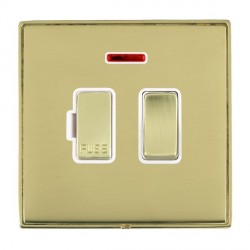 Hamilton Linea-Duo CFX Polished Brass/Polished Brass 1 Gang 13A Fused Spur, Double Pole + Neon with White Insert