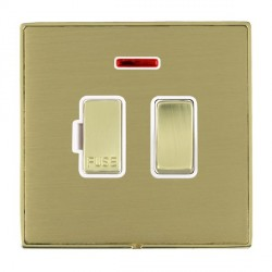 Hamilton Linea-Duo CFX Polished Brass/Satin Brass 1 Gang 13A Fused Spur, Double Pole + Neon with White Insert