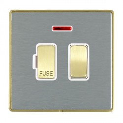 Hamilton Linea-Duo CFX Satin Brass/Satin Steel 1 Gang 13A Fused Spur, Double Pole + Neon with White Insert
