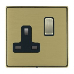 Hamilton Linea-Duo CFX Antique Brass/Satin Brass 1 Gang 13A Switched Socket - Double Pole with Black Insert