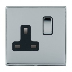 Hamilton Linea-Duo CFX Bright Chrome/Bright Chrome 1 Gang 13A Switched Socket - Double Pole with Black Insert