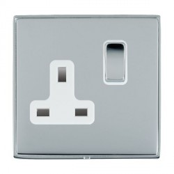 Hamilton Linea-Duo CFX Bright Chrome/Bright Chrome 1 Gang 13A Switched Socket - Double Pole with White Insert