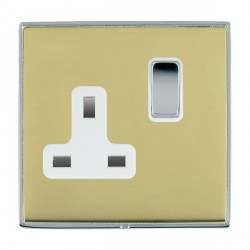Hamilton Linea-Duo CFX Bright Chrome/Polished Brass 1 Gang 13A Switched Socket - Double Pole with White Insert