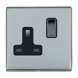 Hamilton Linea-Duo CFX Black Nickel/Bright Steel 1 Gang 13A Switched Socket - Double Pole with Black Insert
