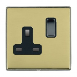 Hamilton Linea-Duo CFX Black Nickel/Polished Brass 1 Gang 13A Switched Socket - Double Pole with Black Insert