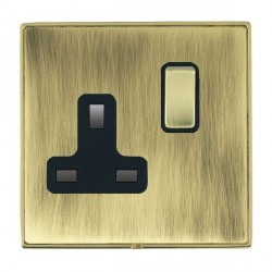 Hamilton Linea-Duo CFX Polished Brass/Antique Brass 1 Gang 13A Switched Socket - Double Pole with Black I...