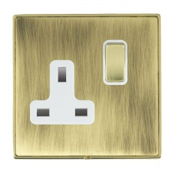 Hamilton Linea-Duo CFX Polished Brass/Antique Brass 1 Gang 13A Switched Socket - Double Pole with White Insert