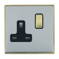Hamilton Linea-Duo CFX Polished Brass/Bright Steel 1 Gang 13A Switched Socket - Double Pole with Black Insert