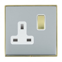 Hamilton Linea-Duo CFX Polished Brass/Bright Steel 1 Gang 13A Switched Socket - Double Pole with White Insert
