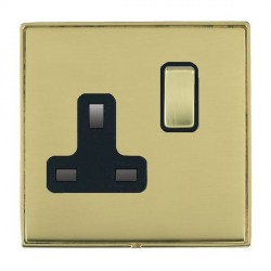 Hamilton Linea-Duo CFX Polished Brass/Polished Brass 1 Gang 13A Switched Socket - Double Pole with Black Insert