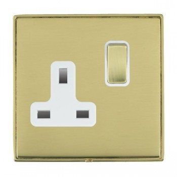 Hamilton Linea-Duo CFX Polished Brass/Polished Brass 1 Gang 13A Switched Socket - Double Pole with White Insert