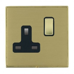 Hamilton Linea-Duo CFX Polished Brass/Satin Brass 1 Gang 13A Switched Socket - Double Pole with Black Insert