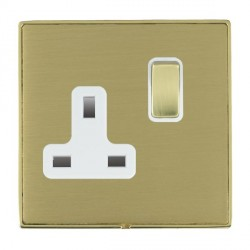 Hamilton Linea-Duo CFX Polished Brass/Satin Brass 1 Gang 13A Switched Socket - Double Pole with White Insert
