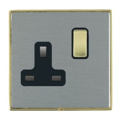 Hamilton Linea-Duo CFX Polished Brass/Satin Steel 1 Gang 13A Switched Socket - Double Pole with Black Insert