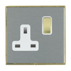 Hamilton Linea-Duo CFX Polished Brass/Satin Steel 1 Gang 13A Switched Socket - Double Pole with White Insert