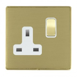 Hamilton Linea-Duo CFX Satin Brass/Satin Brass 1 Gang 13A Switched Socket - Double Pole with White Insert