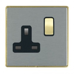 Hamilton Linea-Duo CFX Satin Brass/Satin Steel 1 Gang 13A Switched Socket - Double Pole with Black Insert