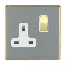 Hamilton Linea-Duo CFX Satin Brass/Satin Steel 1 Gang 13A Switched Socket - Double Pole with White Insert