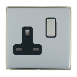 Hamilton Linea-Duo CFX Satin Nickel/Bright Steel 1 Gang 13A Switched Socket - Double Pole with Black Insert