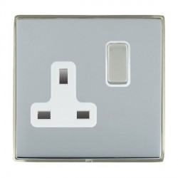 Hamilton Linea-Duo CFX Satin Nickel/Bright Steel 1 Gang 13A Switched Socket - Double Pole with White Insert