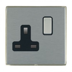 Hamilton Linea-Duo CFX Satin Nickel/Satin Steel 1 Gang 13A Switched Socket - Double Pole with Black Insert