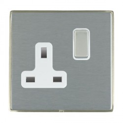 Hamilton Linea-Duo CFX Satin Nickel/Satin Steel 1 Gang 13A Switched Socket - Double Pole with White Insert