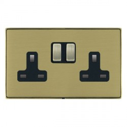 Hamilton Linea-Duo CFX Antique Brass/Satin Brass 2 Gang 13A Switched Socket - Double Pole with Black Insert