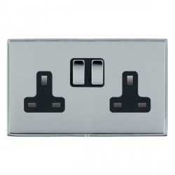 Hamilton Linea-Duo CFX Bright Chrome/Bright Chrome 2 Gang 13A Switched Socket - Double Pole with Black Insert