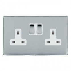 Hamilton Linea-Duo CFX Bright Chrome/Bright Chrome 2 Gang 13A Switched Socket - Double Pole with White Insert