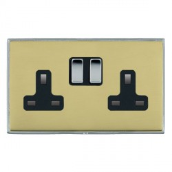 Hamilton Linea-Duo CFX Bright Chrome/Polished Brass 2 Gang 13A Switched Socket - Double Pole with Black Insert