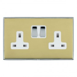 Hamilton Linea-Duo CFX Bright Chrome/Polished Brass 2 Gang 13A Switched Socket - Double Pole with White Insert