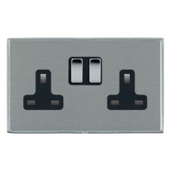 Hamilton Linea-Duo CFX Bright Chrome/Satin Steel 2 Gang 13A Switched Socket - Double Pole with Black Insert