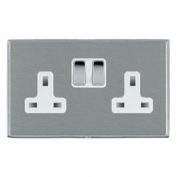 Hamilton Linea-Duo CFX Bright Chrome/Satin Steel 2 Gang 13A Switched Socket - Double Pole with White Insert