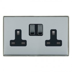 Hamilton Linea-Duo CFX Black Nickel/Bright Steel 2 Gang 13A Switched Socket - Double Pole with Black Insert