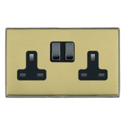 Hamilton Linea-Duo CFX Black Nickel/Polished Brass 2 Gang 13A Switched Socket - Double Pole with Black Insert