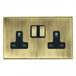 Hamilton Linea-Duo CFX Polished Brass/Antique Brass 2 Gang 13A Switched Socket - Double Pole with Black Insert